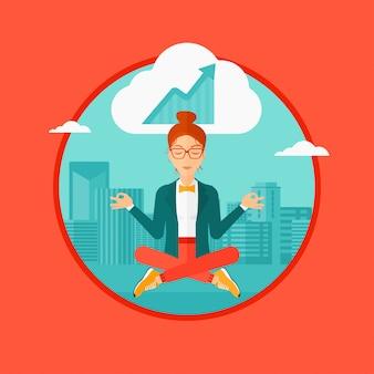 Mujer de negocios pacífica que hace yoga.