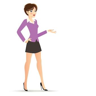 Mujer de negocios de pelo corto en personaje de dibujos animados de traje violeta y negro aislado