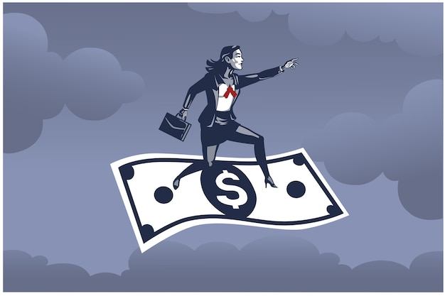 Mujer de negocios de pie sobre un billete de dólar volador muy por encima del cielo concepto de ilustración empresarial