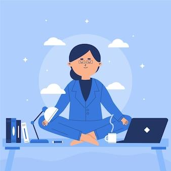 Mujer de negocios plana meditando