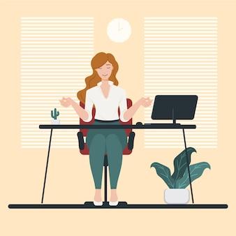 Mujer de negocios plana orgánica meditando