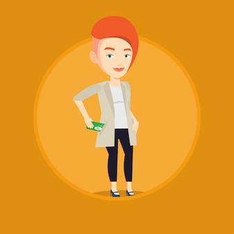 Mujer de negocios poniendo dinero soborno en el bolsillo.
