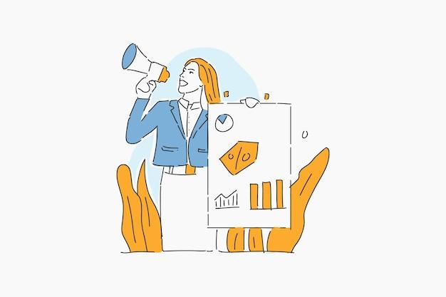 Mujer de negocios promoviendo ilustración dibujada