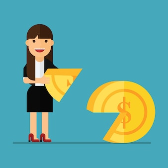Mujer de negocios puso una moneda en forma de pieza