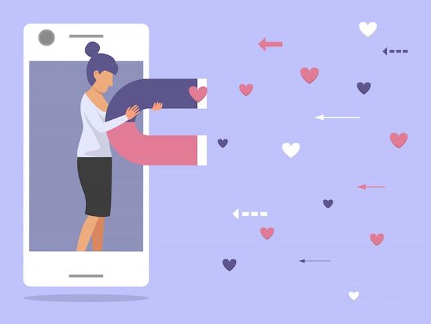 La mujer de negocios que atrae le gusta por la ilustración del imán. concepto de marketing de magnetismo de redes sociales.