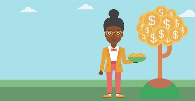 Mujer de negocios que coge monedas del dólar.