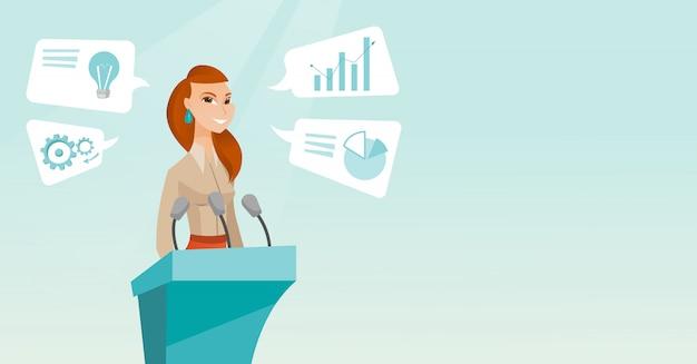 Mujer de negocios que da discurso en el seminario del negocio.