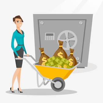 Mujer de negocios que deposita el dinero en el banco en caja fuerte.