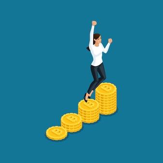 La mujer de negocios que salta se regocija en la gran ganancia de la minería de criptomonedas ico blockchain, proyecto de inicio aislado