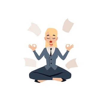 Mujer de negocios sentada en pose de loto de yoga rodeada de papeles estilo de dibujos animados