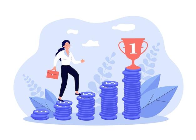 Mujer de negocios subiendo encima de la tabla de dinero a la meta financiera