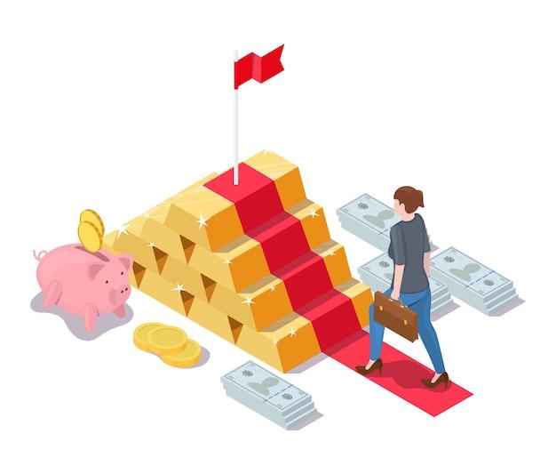 Mujer de negocios subiendo escaleras de lingotes de oro con bandera en la parte superior, vector ilustración isométrica. éxito financiero, inversión.