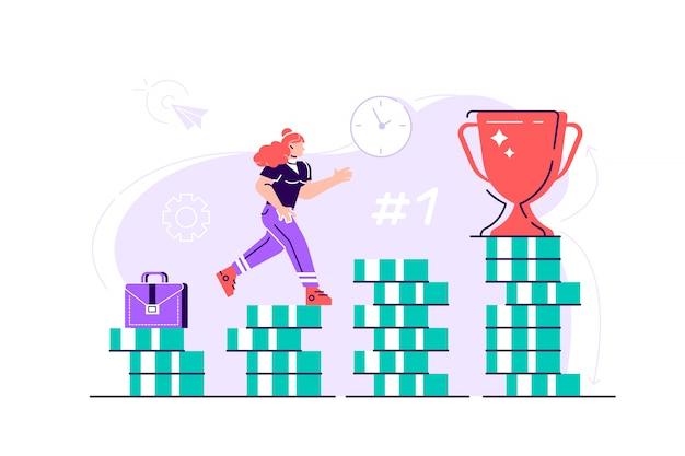 La mujer de negocios está subiendo escaleras de pilas de monedas hacia su meta financiera. inversión personal y concepto de ahorro de pensiones. ilustración de diseño moderno de estilo plano para página web, tarjetas