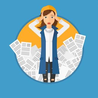 Mujer de negocios subrayada que tiene mucho trabajo que hacer.