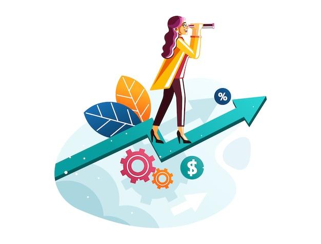 Mujer de negocios con el telescopio que se coloca en concepto de la visión del negocio del gráfico de la flecha del crecimiento