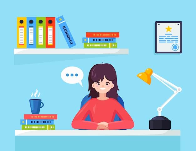 Mujer de negocios trabajando en el escritorio.