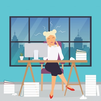 Mujer de negocios trabajando en su escritorio de oficina. estrés en el trabajo. concepto de negocio moderno de diseño plano.
