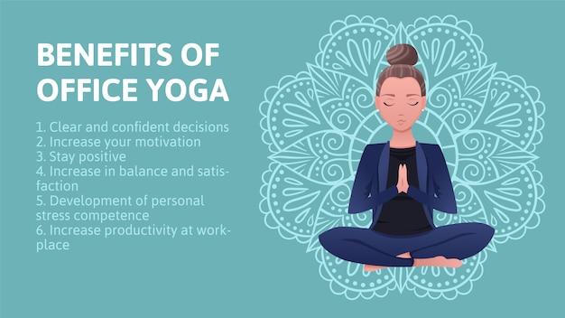 Mujer de negocios en traje azul está sentado en una postura de loto. beneficios de la oficina de yoga en el fondo mandala dibujado a mano. el concepto de ilustración plana de yoga empresarial