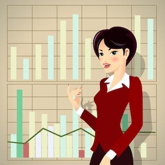 Mujer de negocios en traje corporativo rojo de dibujos animados que presenta el progreso empresarial
