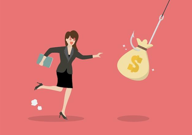 Mujer de negocios tratar de recoger la bolsa de dinero de la trampa del gancho
