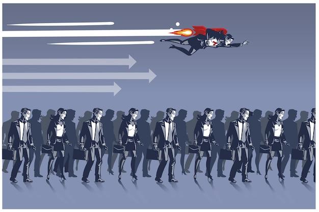 Mujer de negocios volando con cohete sobre otros rivales comerciales conceptos de ilustración de cuello azul
