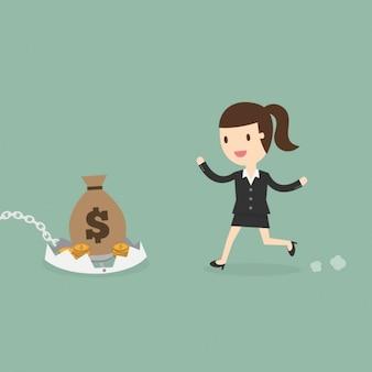 Mujer de negocios yendo hacia una trampa