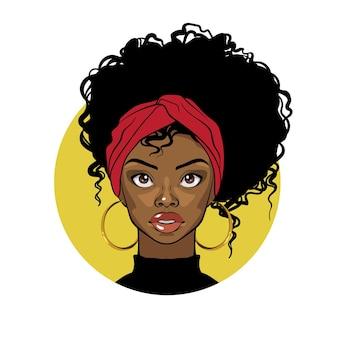 Mujer negra de dibujos animados con turbante rojo de pelo rizado y aretes dorados