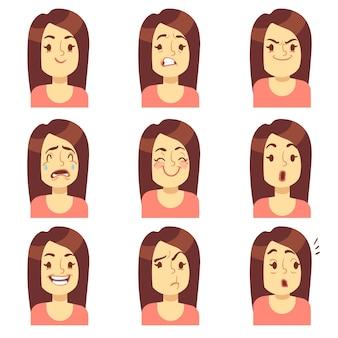 Mujer, niña cara emociones expresión vector avatar iconos. emocional triste y enojado, infeliz y con miedo.