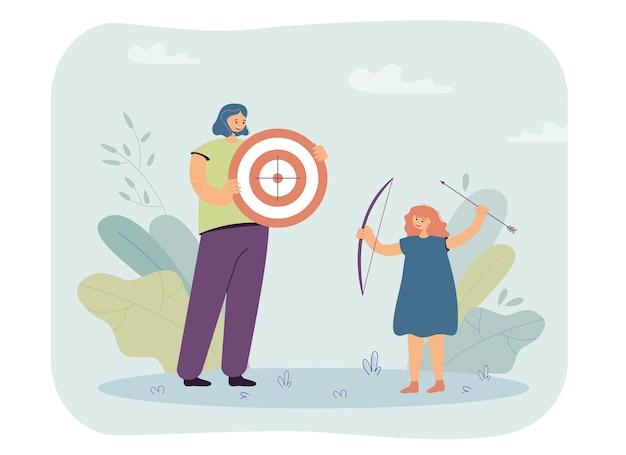 Mujer y niña jugando con ilustración de arco
