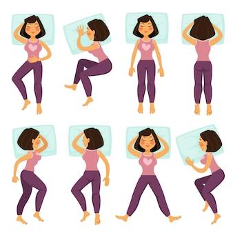 Mujer niña en poses de dormir en la cama con la almohada, juego de caracteres