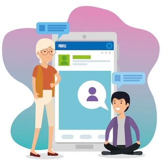 Mujer y niño con perfil de teléfono inteligente y chat