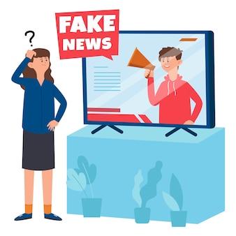 La mujer no cree las noticias falsas