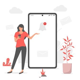 Mujer y notificación en teléfono móvil. mensajería en línea, redes sociales, notificación telefónica, conceptos de tecnología empresarial.