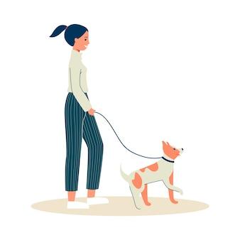 Mujer o niña de paseo con perro al aire libre en el parque, ilustración sobre fondo blanco. personaje de dibujos animados ciudadana urbana en ropa casual.