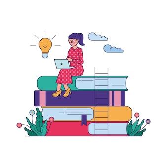 Mujer obteniendo conocimiento en la ilustración de vector de escuela en línea