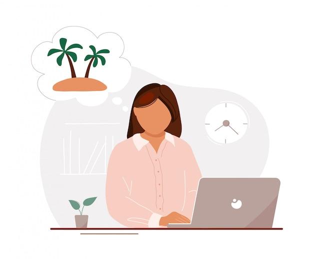 Mujer en oficina soñando con vacaciones