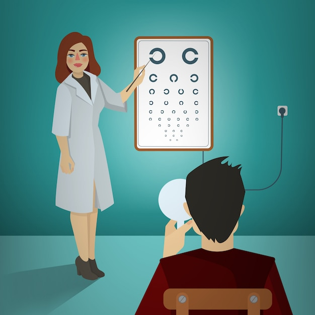 Mujer oftalmólogo examinando a un paciente usando un cuadro de snellen