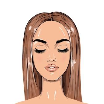 Mujer con ojos cerrados y pestañas largas