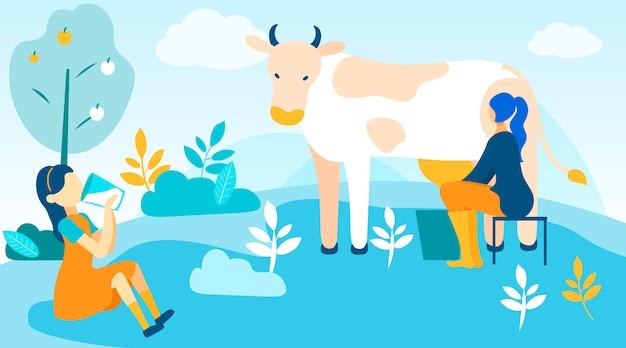 Mujer ordeña vaca y niña bebe leche fresca