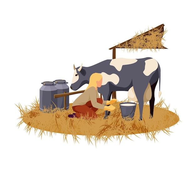 Mujer ordeñando vacas en la ilustración plana de la granja orgánica