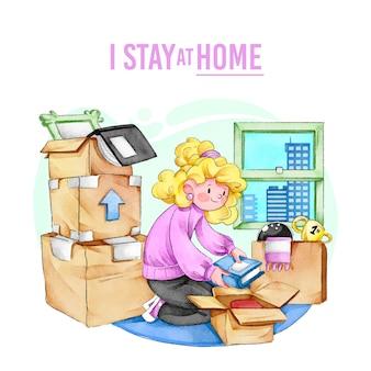 Mujer organizando libros en casa