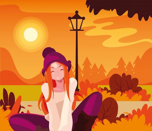 Mujer en otoño diseño vectorial