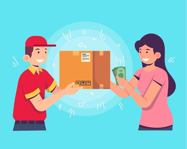 Mujer pagando el paquete que acaba de recibir
