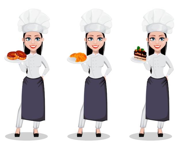 Mujer panadera en uniforme profesional.