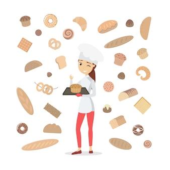Mujer panadero con pasteles en blanco.