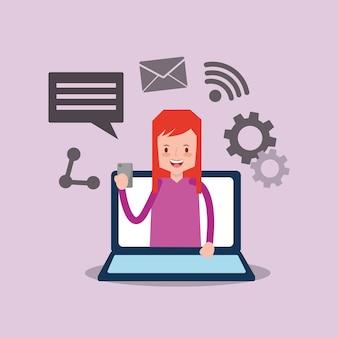 Mujer en la pantalla portátil con smartphone