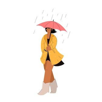 Mujer con paraguas bajo la lluvia en un impermeable en estilo de dibujos animados dibujados a mano