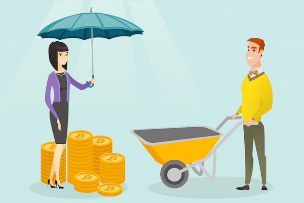Mujer con paraguas protegiendo monedas de bitcoin.