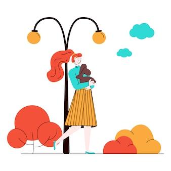 Mujer de paseo en el parque con una encantadora mascota conejo, ilustración de dibujos animados.