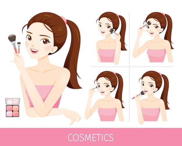 Mujer con pasos para aplicar mejillas, cosméticos y equipos para pintar en mejillas y cara